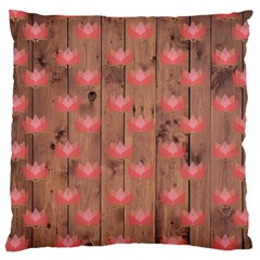 Zen Lotus Wood Wall Large Cushion Case (two Sides)