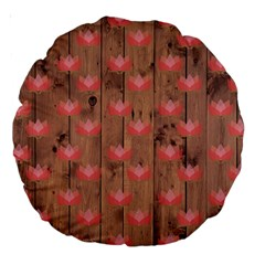 Zen Lotus Wood Wall Large 18  Premium Round Cushions by snowwhitegirl