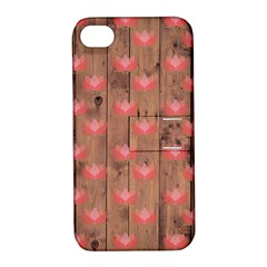 Zen Lotus Wood Wall Apple Iphone 4/4s Hardshell Case With Stand
