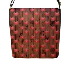 Zen Lotus Wood Wall Flap Closure Messenger Bag (l)