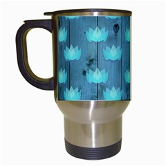 Zen Lotus Wood Wall Blue Travel Mugs (white)