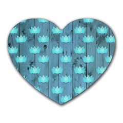 Zen Lotus Wood Wall Blue Heart Mousepads