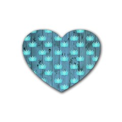 Zen Lotus Wood Wall Blue Heart Coaster (4 Pack)