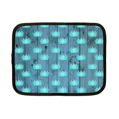 Zen Lotus Wood Wall Blue Netbook Case (small)