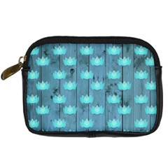 Zen Lotus Wood Wall Blue Digital Camera Leather Case