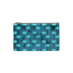 Zen Lotus Wood Wall Blue Cosmetic Bag (small)