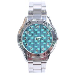 Zen Lotus Wood Wall Blue Stainless Steel Analogue Watch