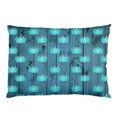 Zen Lotus Wood Wall Blue Pillow Case (two Sides)
