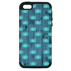 Zen Lotus Wood Wall Blue Apple Iphone 5 Hardshell Case (pc+silicone)