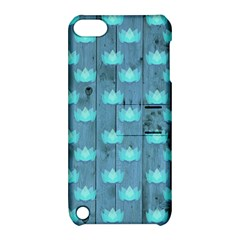 Zen Lotus Wood Wall Blue Apple Ipod Touch 5 Hardshell Case With Stand