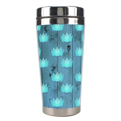 Zen Lotus Wood Wall Blue Stainless Steel Travel Tumblers