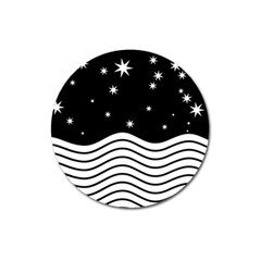 Black And White Waves And Stars Abstract Backdrop Clipart Magnet 3  (round)