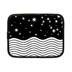 Black And White Waves And Stars Abstract Backdrop Clipart Netbook Case (small) by Jojostore