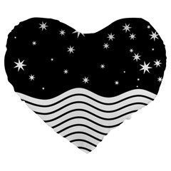 Black And White Waves And Stars Abstract Backdrop Clipart Large 19  Premium Heart Shape Cushions by Jojostore