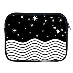 Black And White Waves And Stars Abstract Backdrop Clipart Apple Ipad 2/3/4 Zipper Cases by Jojostore