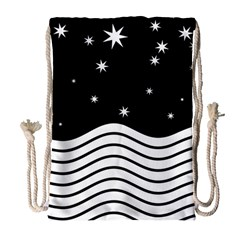 Black And White Waves And Stars Abstract Backdrop Clipart Drawstring Bag (large)