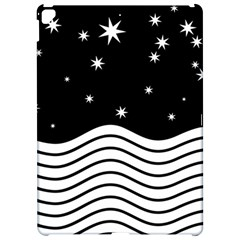 Black And White Waves And Stars Abstract Backdrop Clipart Apple Ipad Pro 12 9   Hardshell Case