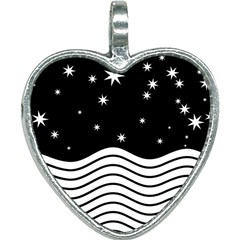Black And White Waves And Stars Abstract Backdrop Clipart Heart Necklace