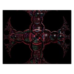 Fractal Red Cross On Black Background Rectangular Jigsaw Puzzl
