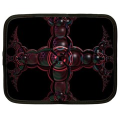 Fractal Red Cross On Black Background Netbook Case (xl)
