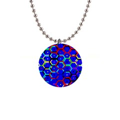 Blue Bee Hive Pattern 1  Button Necklace