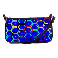 Blue Bee Hive Pattern Shoulder Clutch Bag