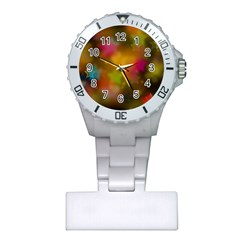 Star Background Texture Pattern Plastic Nurses Watch by Jojostore