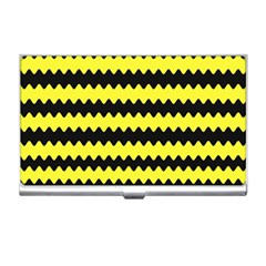 Yellow Black Chevron Wave Business Card Holder