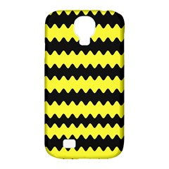 Yellow Black Chevron Wave Samsung Galaxy S4 Classic Hardshell Case (pc+silicone)