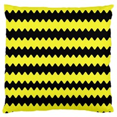 Yellow Black Chevron Wave Standard Flano Cushion Case (one Side) by Jojostore