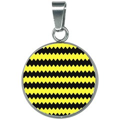 Yellow Black Chevron Wave 20mm Round Necklace