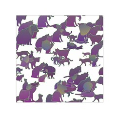 Many Cats Silhouettes Texture Small Satin Scarf (square)
