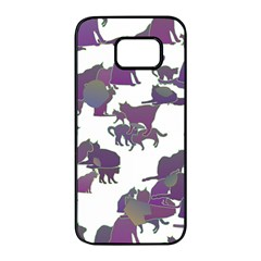 Many Cats Silhouettes Texture Samsung Galaxy S7 Edge Black Seamless Case