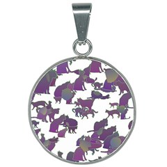 Many Cats Silhouettes Texture 25mm Round Necklace