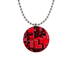 Background With Red Texture Blocks 1  Button Necklace