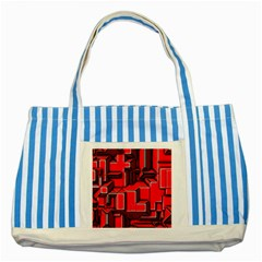 Background With Red Texture Blocks Striped Blue Tote Bag