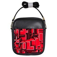 Background With Red Texture Blocks Girls Sling Bag