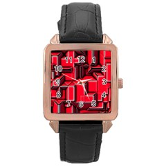 Background With Red Texture Blocks Rose Gold Leather Watch  by Jojostore