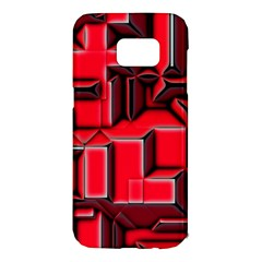 Background With Red Texture Blocks Samsung Galaxy S7 Edge Hardshell Case