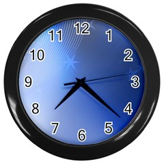 Blue Star Background Wall Clock (black)