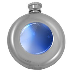 Blue Star Background Round Hip Flask (5 Oz)
