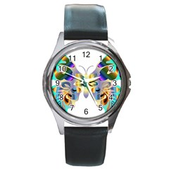 Abstract Animal Art Butterfly Copy Round Metal Watch by Jojostore