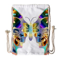 Abstract Animal Art Butterfly Copy Drawstring Bag (large)