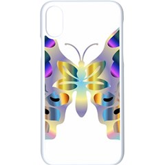 Abstract Animal Art Butterfly Copy Apple Iphone X Seamless Case (white) by Jojostore