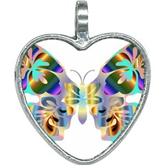 Abstract Animal Art Butterfly Copy Heart Necklace by Jojostore