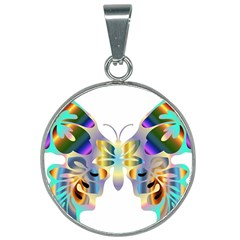 Abstract Animal Art Butterfly Copy 25mm Round Necklace