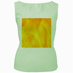 Yellow Pattern Painting Women s Green Tank Top