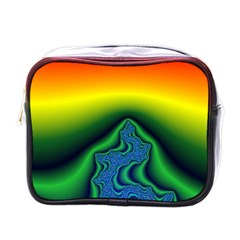 Fractal Wallpaper Water And Fire Mini Toiletries Bag (one Side)