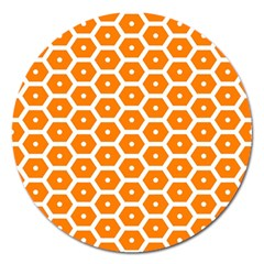 Golden Be Hive Pattern Magnet 5  (round) by Jojostore