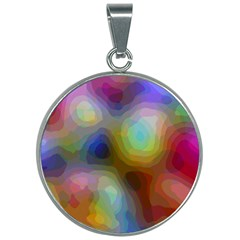 A Mix Of Colors In An Abstract Blend For A Background 30mm Round Necklace